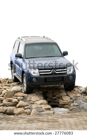 off-road vehicle auto isolated on white - stock photo
