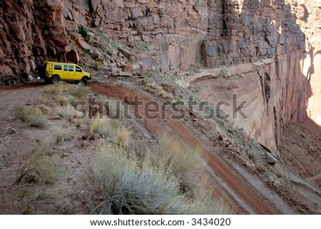 Off-roading in White Rim Canyon, Canyonlands, Utah, USA - stock photo