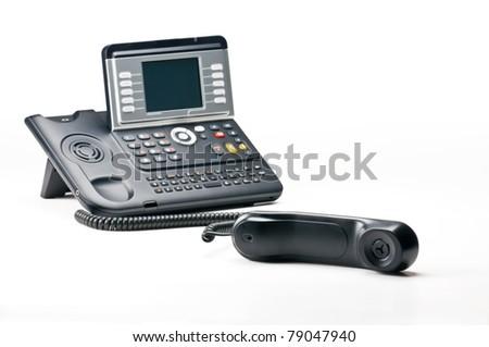 Off the hook telephone isolated on white background - stock photo