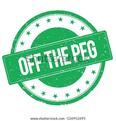 OFF THE PEG stamp sign text word logo green.