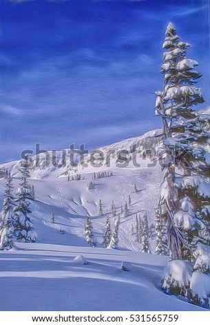 Off trail skiing at Whistler Mountain,site of 2010 Winter Olympics.Digital oil painting