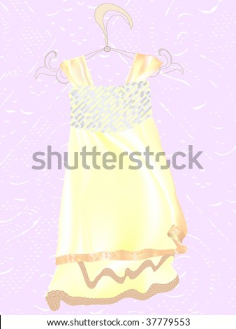 Off-white,biscuit-colored wedding dress hangs on a rack.  Art full of sunlight.  Creates soft, romantic feeling and spirit of happy day.In vogue. - stock photo