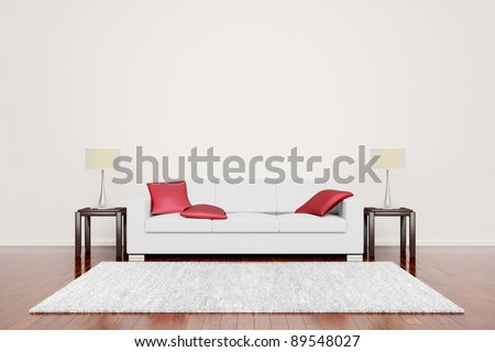 Off White Couch With Red Cushions in empty neutral interior with wooden floor. - stock photo