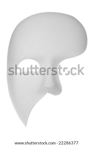 Off-white phantom of the opera half face mask isolated on white background - stock photo