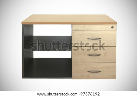 offce cabinet with drawers isolated on white - stock photo