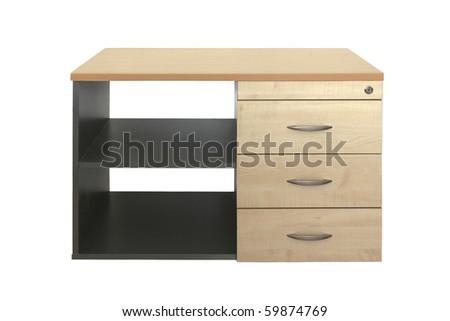 offcie cabinet with drawers isolated on white - stock photo