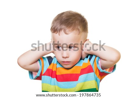 Offended boy on isolated white - stock photo