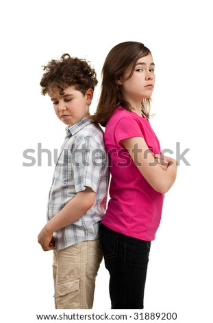 Offended kids standing isolated on white background - stock photo