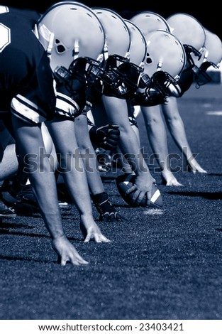 Offensive Linemen, American Football, blue-tint - stock photo