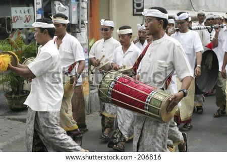 Offer procession in Kuta, Bali - stock photo