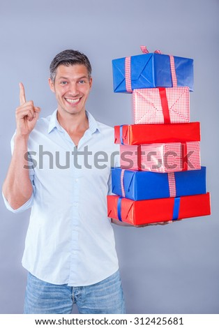 offering a lots of colorful presents - stock photo