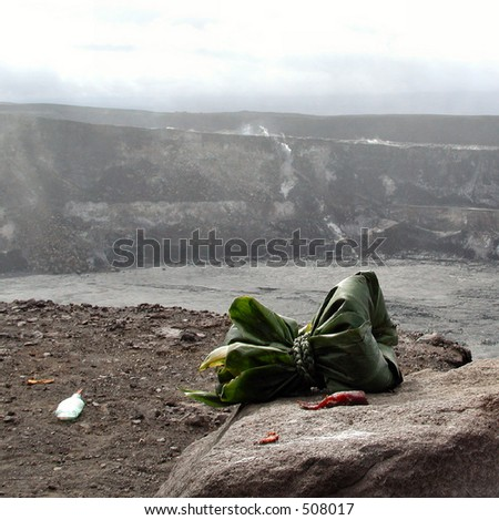 Offering to the volcano goddess Pele at the Kilauea Crater Rim. - stock photo