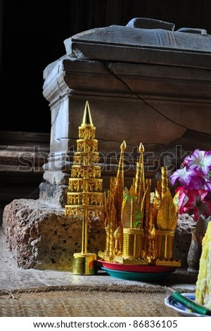 Offerings at buddhist temple at Angkor Wat, Cambodia - stock photo