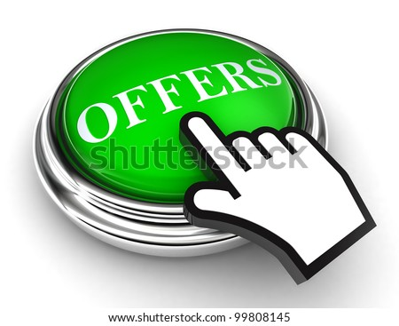 offers green button and cursor hand on white background. clipping paths included - stock photo