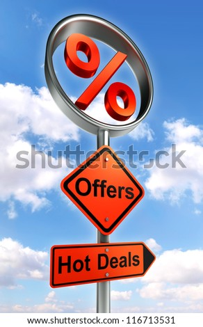 offers road sign with discount symbol and word hot deals on sky background - stock photo