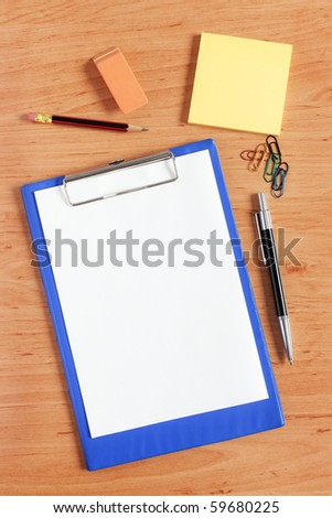 office accessories on wooden table
