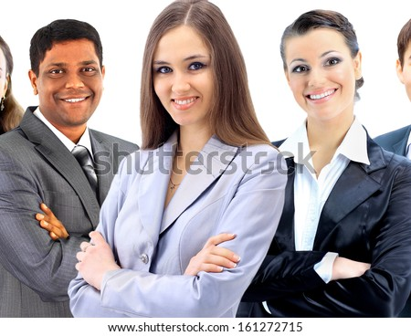 Office an interracial team of six people. - stock photo