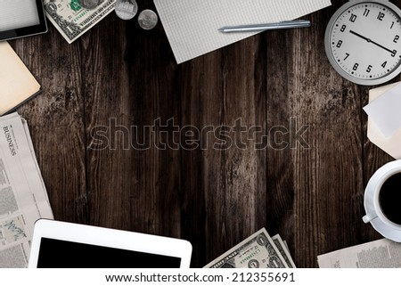 office and business work elements - stock photo