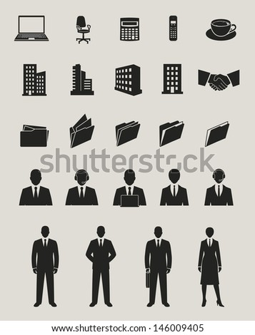 office and documents, business people and buildings icons set. raster version, vector file also available in gallery - stock photo