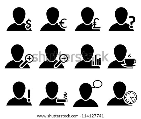 Office and people icon set. Raster version. - stock photo
