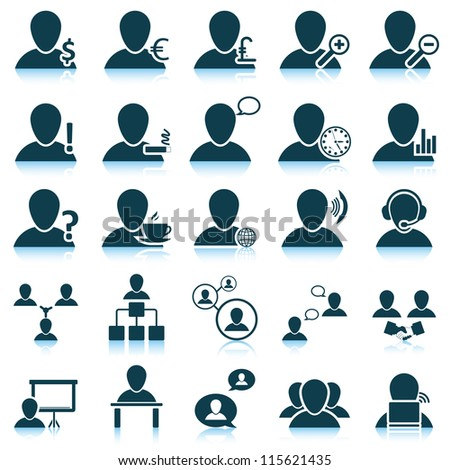 Office and people icon set. Raster version.
