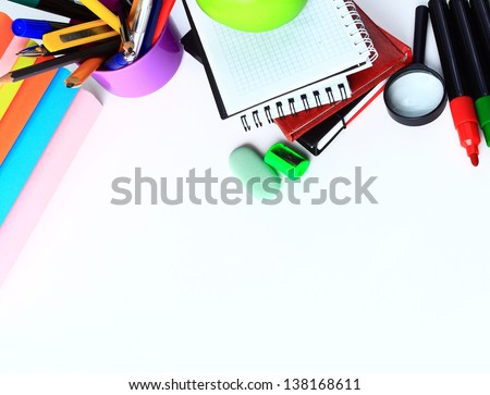 Office and student accessories on a white. Back to school concept. - stock photo