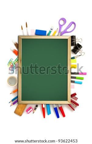 office and student tool with blackboard over white background - stock photo