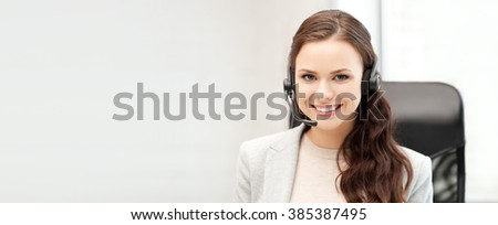 office and technology concept - picture of helpline operator with laptop computer - stock photo