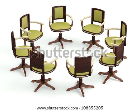 Office armchairs in circle. Meeting concept. 3D model - stock photo
