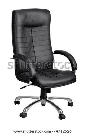 Office black armchair isolated on white background