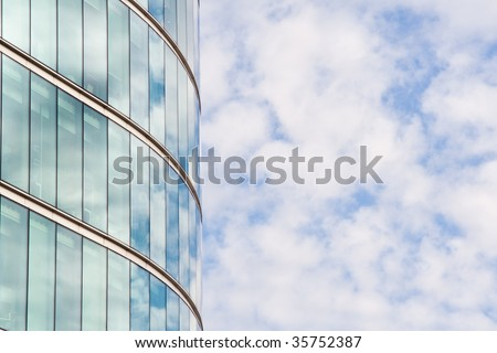 office block and blue sky - stock photo