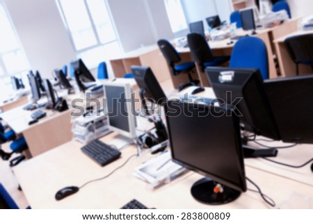 Office blur background. Abstract office with computers. - stock photo