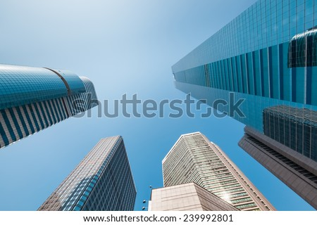 office building against the blue sky ,view from below