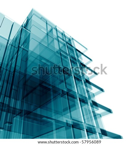 Office building. Amazing turquoise glass and reflections - stock photo