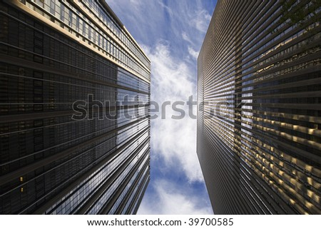 Office building and blue sky - stock photo
