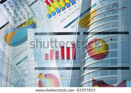 Office building and finance charts, business collage - stock photo