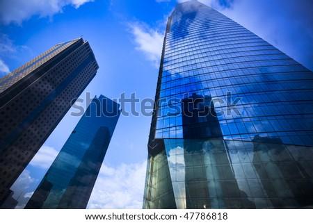 office building background,landmark of shanghai china. - stock photo
