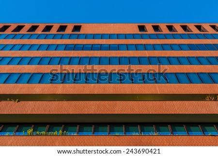 Office building facade in Barcelona, Spain - stock photo