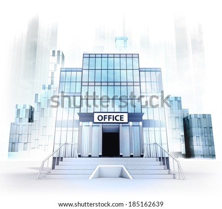 office building facade in business city concept render illustration - stock photo