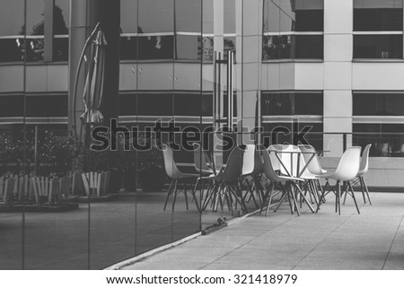 Office building front, black and white tone - stock photo