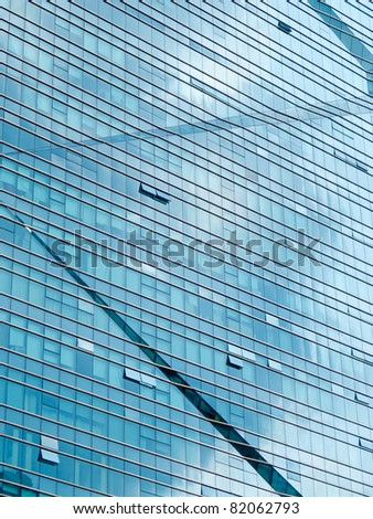 Office building glass wall - stock photo