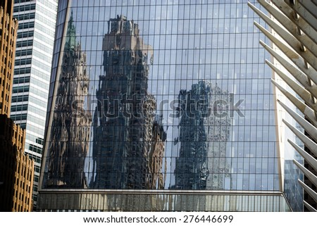 Office building, glass wall with a lot of reflection. - stock photo