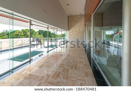 Office, building hall, lobby, corridor doors and windows. Interior design. - stock photo