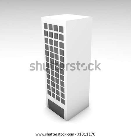 Office Building in 3d Clip Art Illustration - stock photo