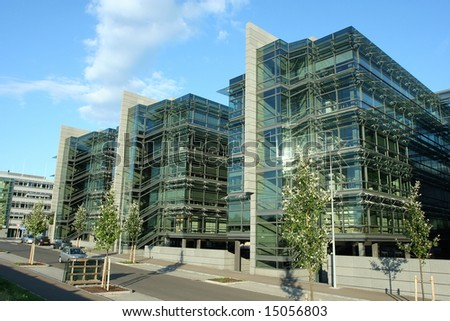 Office building in the European district of Luxembourg city - stock photo