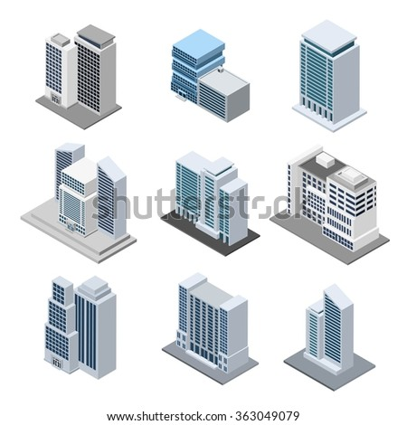 Office Building Isometric - stock photo