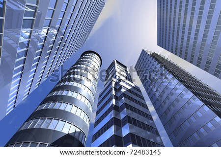 Office building on a background of the blue sky - stock photo