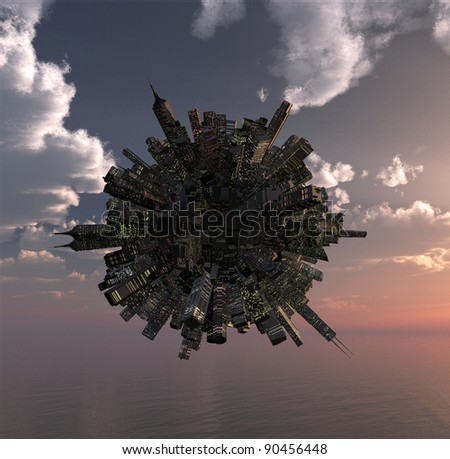 office building on little planet over the ocean - stock photo