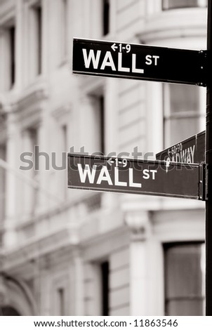 Office building on Wall street in New York city - stock photo