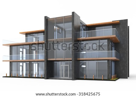 Office building on white background.3d render - stock photo